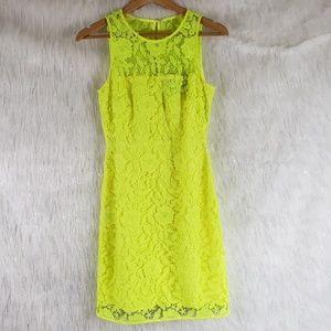 J. Crew neon yellow lace sheath dress size 2